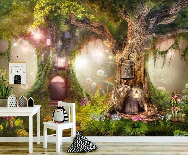 Wallpaper Nursery magical forest, magic tree in green