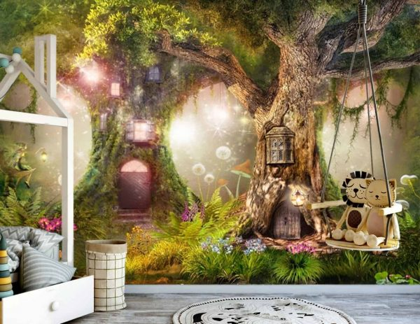 Wallpaper Nursery magical forest, magic tree