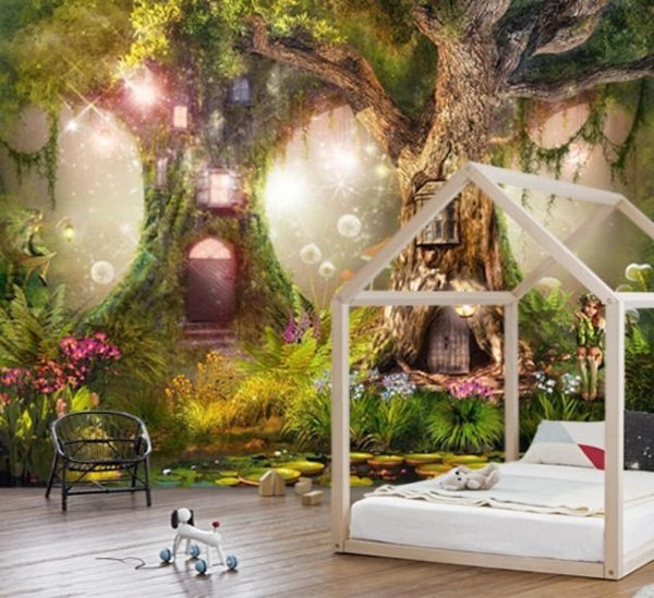 Wallpaper Nursery magical forest, magic tree oliprint art