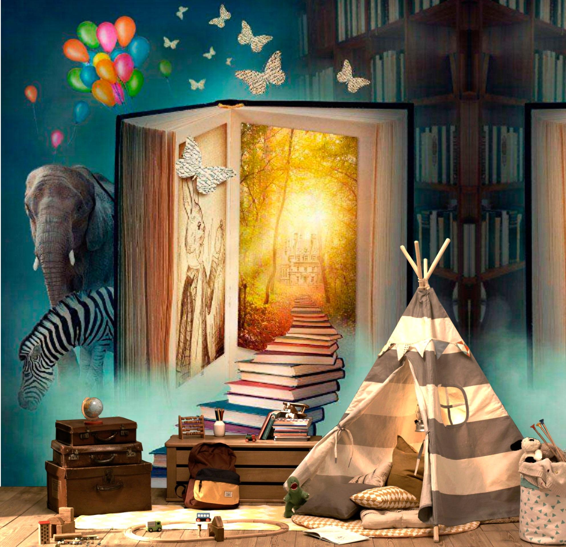 Wallpaper Magical Book Library Elephant Zebra Nursery Self Adhesive