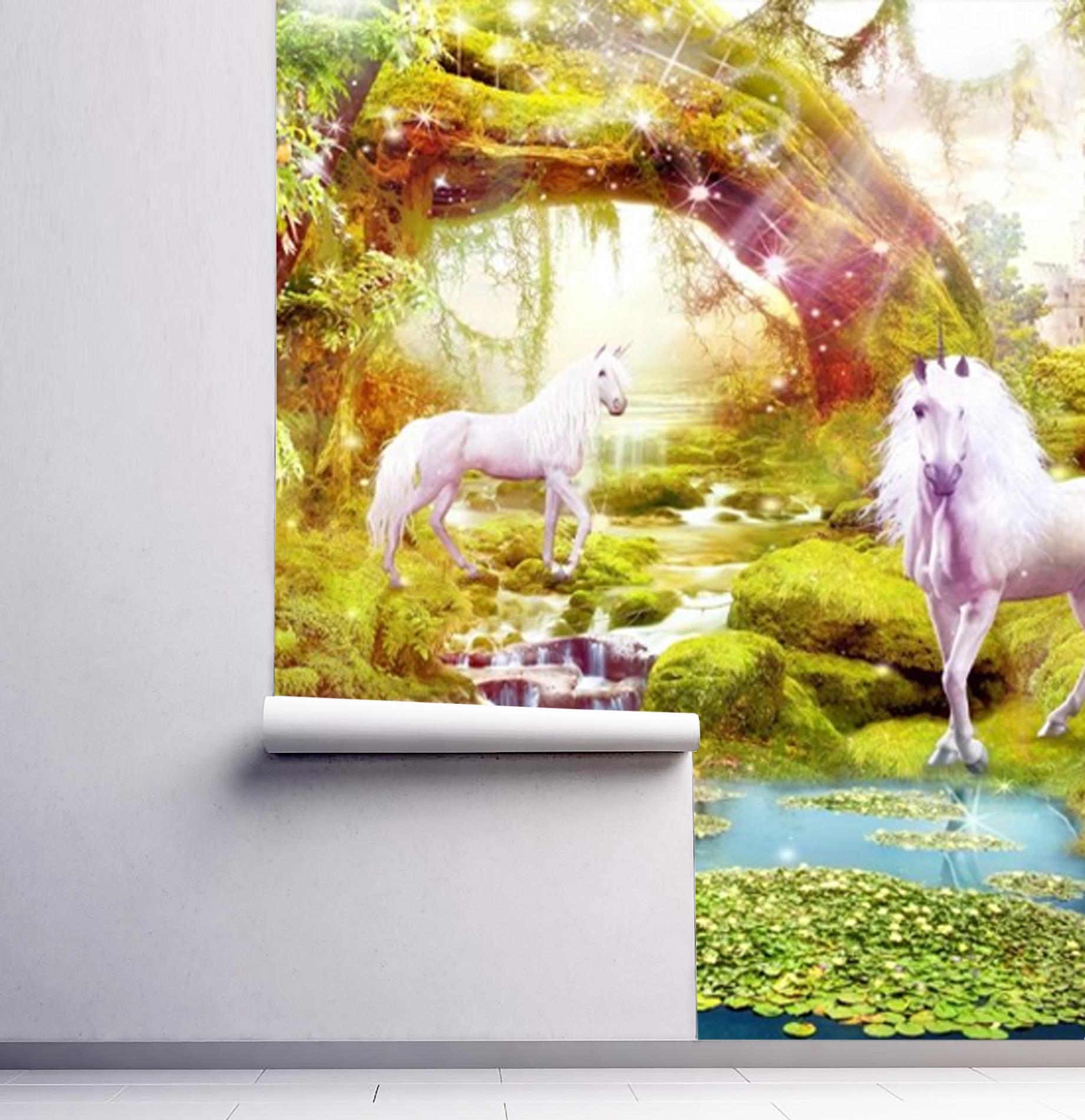 Wallpaper Art Unicorn Magical Forest Nursery Magic Tree Fairytale Forest Gorgeous Large Adhesive Vinyl