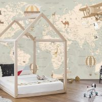 Wallpaper Custom Order,Animals,World Map,   Nursery,Vinyl Varnish W425cm x H271cm
