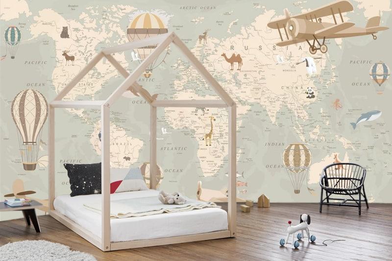 Wallpaper Art Decoration Animals World Map With Nursery Beautiful Decor Travel Gorgeous Design Large Photo Wall Mural