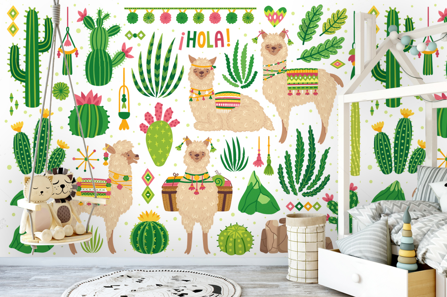 Wallpaper Art Cactus With Lama Nursery