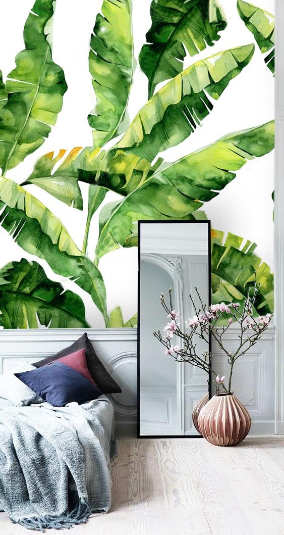 Wallpaper Wall Art Decoration Printed Paper Nursery Watercolor Tropic