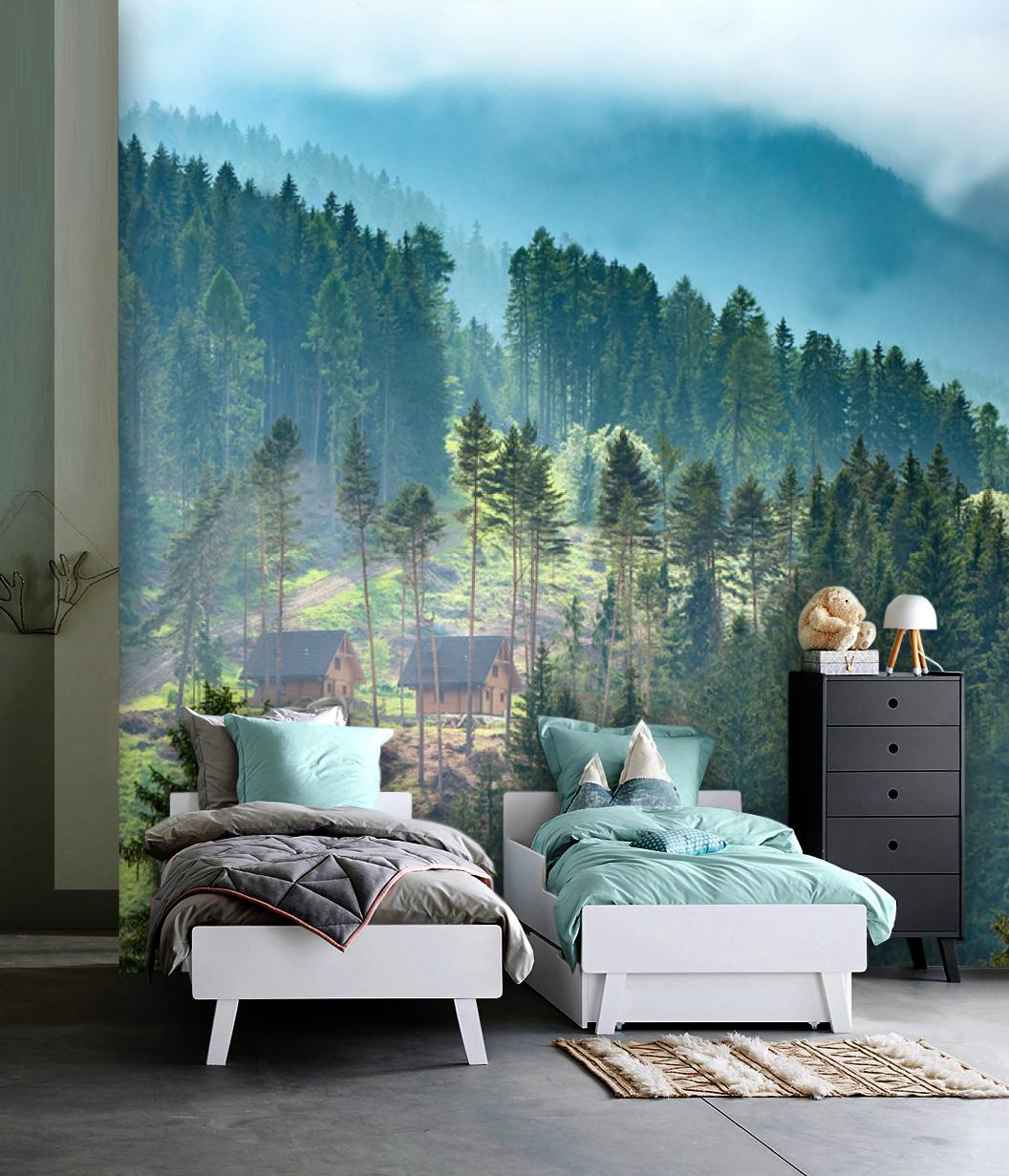 Wallpaper Forest Mountain Pine Pattern Selfadhesive Vinyl Design