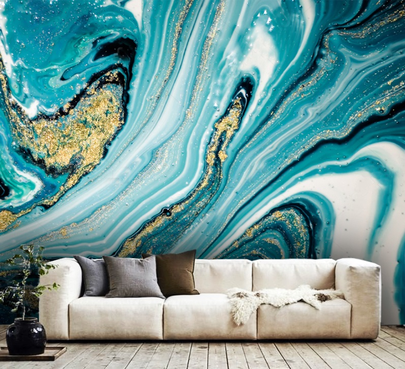 Wallpaper Oriental Luxury Abstract Art Vinyl Self Adhesive Ink Blue With Gold Sequins
