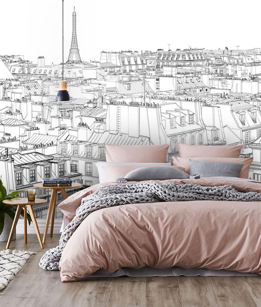 Wallpaper View Paris Ink Sketch France Black White Design Drawing
