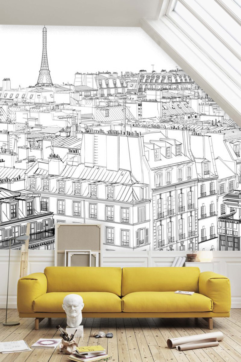 Wallpaper View Paris Ink Sketch France Black White Design Drawing Graphics