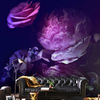"Custom Order,Wallpaper,Peony in Purple,    Vinyl Varnish W95"" x H55"""