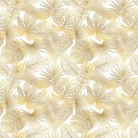 Wallpaper, Leaves in Gold, Foliage Abstract in Gold, Art Deco Style, Large Photo, Vinyl, Self Adhesive, Wall Mural