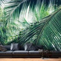 Wallpaper, Tropical Foliage Abstract, Leaves, Large Photo, Vinyl, Self Adhesive, Wall Mural