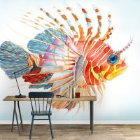 Wallpaper, Nuresry, Peel and Stick, Magical Fish in Watercolor, Home Decoration, Vinyl, Self adhesive, Wall art
