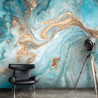 Wallpaper, Abstract Ink, Blue & Gold Sequins, Oriental ,Luxury Wall Art, Large Photo, Vinyl, Self Adhesive, Wall Mural