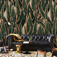 "Custom Order,Wallpaper,Tropical Foliage,Green&Gold,    Vinyl W133""xH84"""