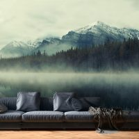 Wallpaper,Fog in the Forest, Mountain, Lake, Nature, Wall Mural, Peel and Stick, Large Photo, Removable, Adhesive Vinyl
