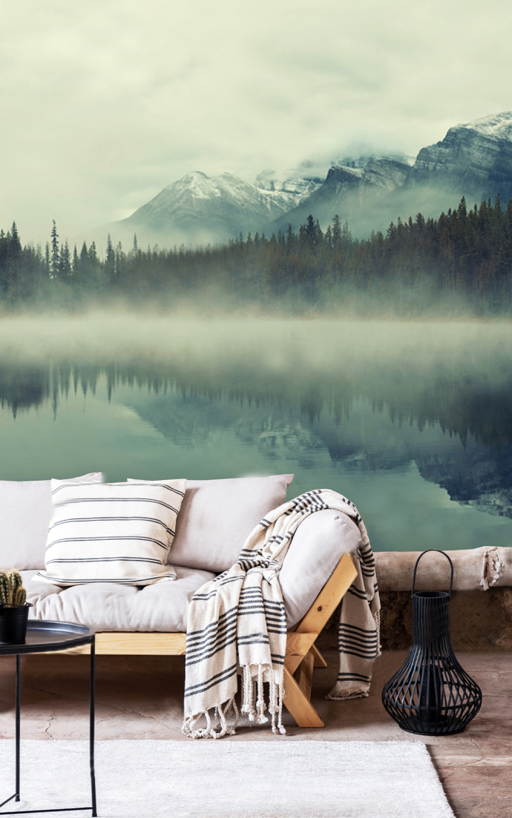 Wallpaper Fog In The Forest Mountain Lake Nature Wall Mural Peel And Stick Large Photo Removable Adhesive Vinyl