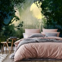 Wallpaper,Moonlight in the Forest, Night, Adhesive Vinyl, Decor, Nature, Wall Mural, Peel and Stick, Large Photo, Removable