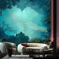 Wallpaper, Magical Jungle, Fog, Art, Landscape,Mysterious Lake, Adhesive Vinyl, Decor, Nature, Wall Mural, Peel and Stick, Large Photo, Removable
