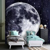 Wallpaper,Moon with Stars,Night Wall Mural,Adhesive Vinyl,Decor,Universe,Peel&Stick,Large Photo,Removable