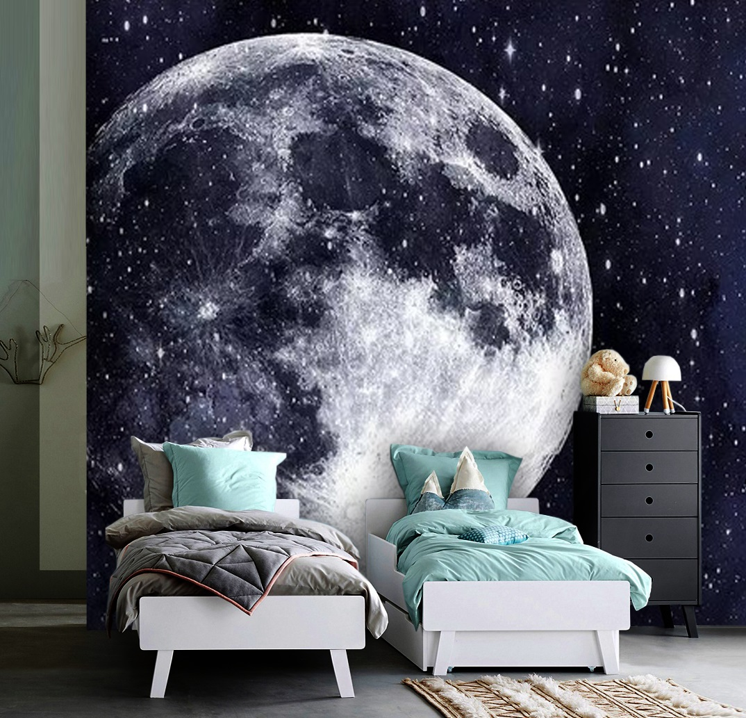 Wallpaper Moon With Stars Night Wall Mural Adhesive Vinyl Decor Universe Peel Stick Large Photo Removable