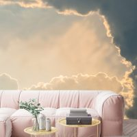 Wallpaper,Clouds, Sky with Sun,Adhesive Vinyl,Decor,Nature,Wall Mural,Peel&Stick,Large Photo,Removable