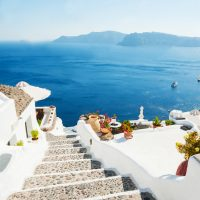 Wallpaper, Santorini, Morning Architecture,Greece, Wall Mural,Peel and Stick, Large Photo, Removable, Adhesive Vinyl