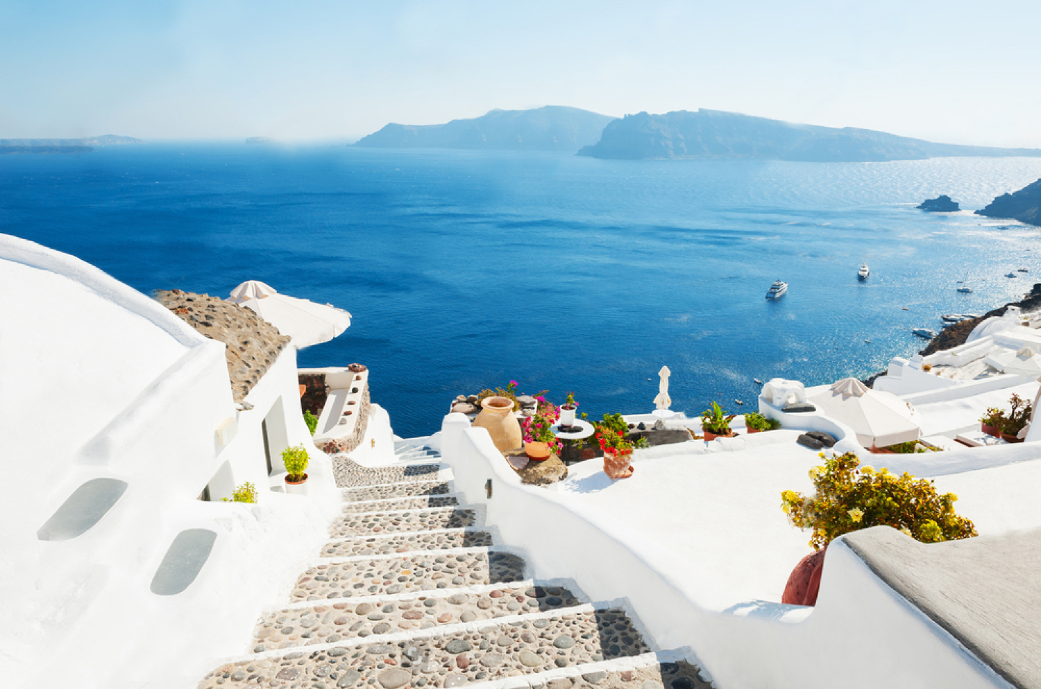 Wallpaper Santorini Morning Architecture Greece Wall Mural Peel And Stick Large Photo Removable Adhesive Vinyl