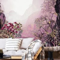 Wallpaper, Landscape in pink, Mountain in Fog, Adhesive Vinyl, Decor, Nature, Wall Mural, Peel and Stick, Large Photo, Removable