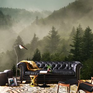 wallpaper 3Dwall mural beautiful forest with fog nature green murals self adhesive peel and stick for bedroom forest oliprint art