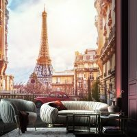 Wallpaper, Paris Street, Architecture, The Eiffel Tower, France, Wall Mural,Peel and Stick, Large Photo, Removable, Adhesive Vinyl