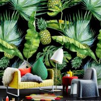 Wallpaper, Tropical Foliage with Ananas, Watercolor, Palm Leaves, Adhesive Vinyl, Drawing, Decals removable, Wall Mural