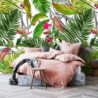 Wallpaper, Adhesive Vinyl, Tropical Leaves, Watercolor, Palm Leaves, Drawing, Decals, Wall Mural