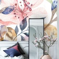 Wallpaper,Flowers in Watercolor,Removable, Pell and Stick, Wall Art, Adhesive Vinyl ,Wall Mural