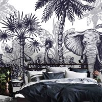 Wallpaper, Adhesive Vinyl, Africa, Black and White, Tropical Jungle, Palm Leaves, Drawing,Wall Mural