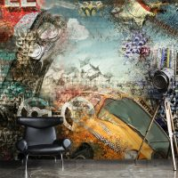 Wallpaper,Sreet Art,Yellow Taxi,Graffiti,Abstract,Wall Mural,Adhesive Vinyl,Decor,Peel&Stick,Large Photo,Removable