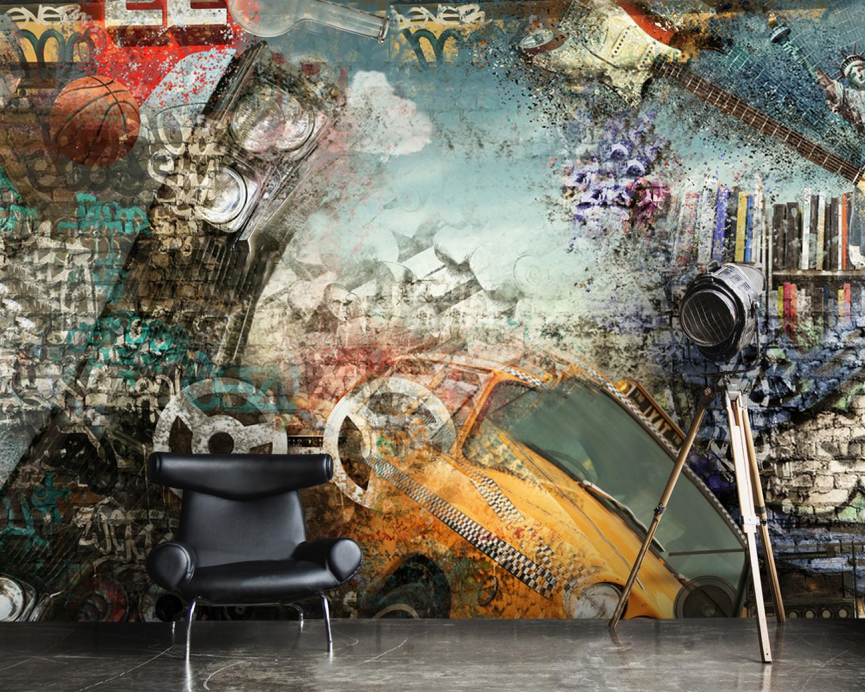 Wallpaper Sreet Art Yellow Taxi Graffiti Abstract Wall Mural Adhesive Vinyl Decor Peel Stick Large Photo Removable