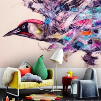 Wallpaper,Sreet Art,Bird Graffiti,Wall Mural,Adhesive Vinyl,Decor,Peel&Stick,Large Photo,Removable