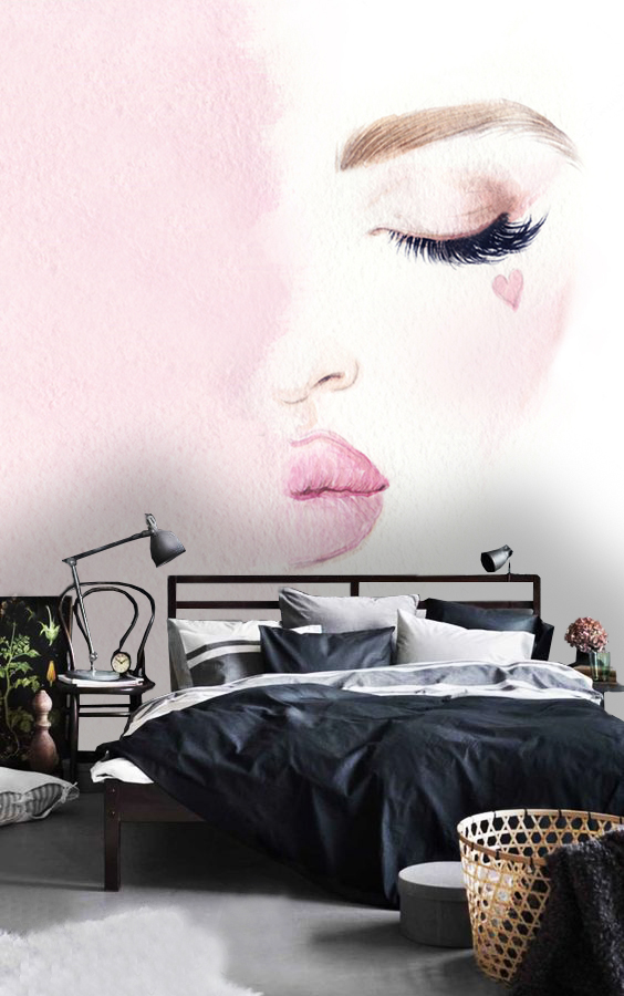 Wallpaper Woman wall mural face girl fashion murals peel and stick removable vinyl wall mural rose love heart