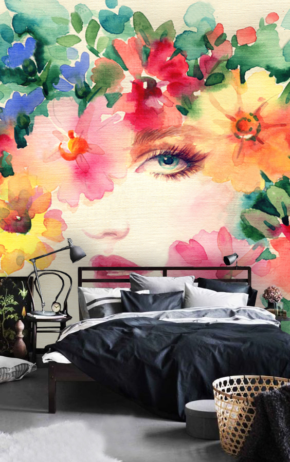 Wallpaper Woman face floralwatercolor face wall mural face girl fashion murals peel and stick removable vinyl wall mural beauty flowers blue pink purple