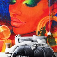 Wallpaper,Graffiti Wall Mural,Jazz,Sreet Art,Woman,Adhesive Vinyl,Decor,Peel&Stick,Large Photo,Removable