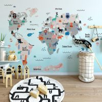 Wallpaper,World Map with Animals in Blue,   Nursery,Decals,Self Adhesive,  Vinyl,Removable