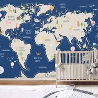 Children's Wallpaper,World Map      Decals,Self Adhesive,     Vinyl,Nursery,Wall Mural