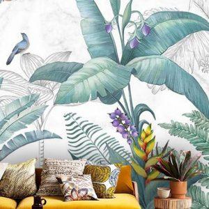 wallpaper tropical watercolor leaves bananas birds wall mural oliprint art self adhesive vinyl room decorananas birds wall mural oliprint art self adhesive vinyl room decor