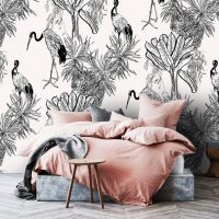 Wallpaper,Crane Birds in Bushes,   Tropical,Palms,Peel&Stick,   Removable,Jungle,Wall Mural
