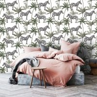 Wallpaper,Adhesive Vinyl,Tropical,Zebra&Palms, Peel&Stick,Removable,Wall Mural,Decals