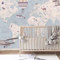 Wallpaper, Adhesive Vinyl, World Map with Animals in Blue, Wall Mural,Nursery