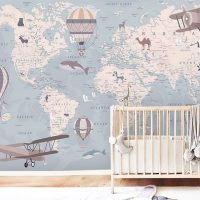 Children's Wallpaper,    World Map with Animals,Blue Nursery,   Adhesive Vinyl,Wall Mural