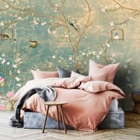 Wallpaper,Birds,Vintage Floral,   Sakura,Peel&Stick,Vinyl,     Removable,Green&Rose,Wall Mural