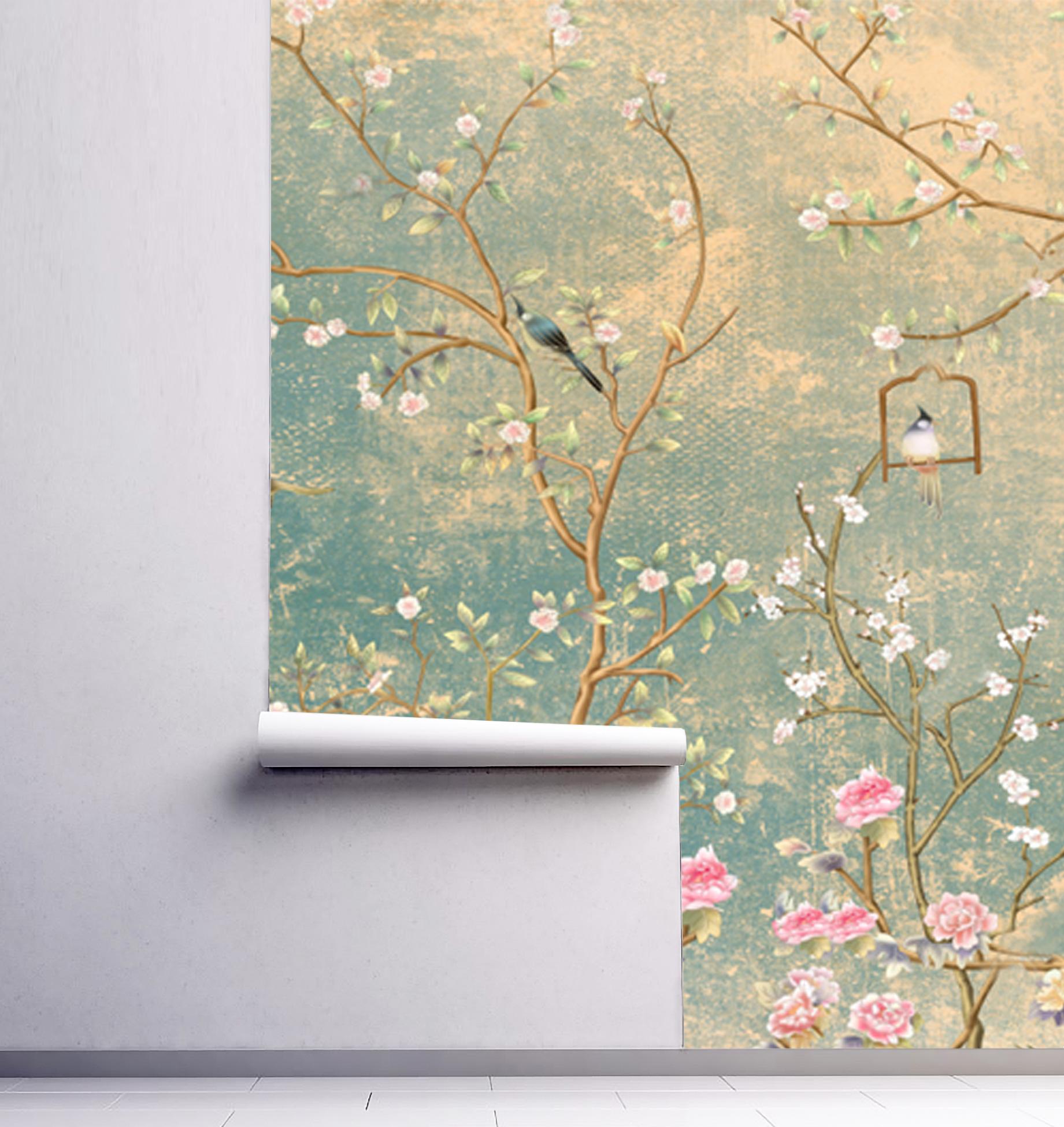 Wallpaper Birds Vintage Floral Sakura Peel Stick Vinyl Green Rose